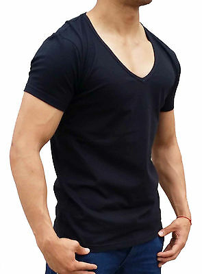 New Mens Plain Black Fitted Deep V Neck T Shirt S - Xxxl Muscle Hot Sexy Fashion