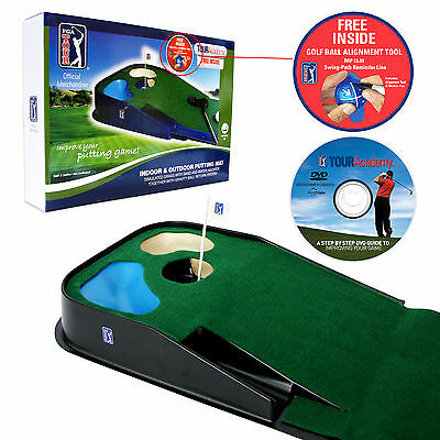 PGA TOUR Indoor and Outdoor Putting Mat - Christmas Gift Him Golf Aid - Practice