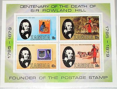 ZAMBIA SAMBIA 1979 Block 6 S/S 207a Stamp on Stamp R. Hill Post Postbote MNH
