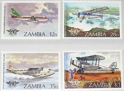 ZAMBIA SAMBIA 1984 306-09 296-99 40th Ann Intl. Civil Aviation Org Flugzeuge MNH