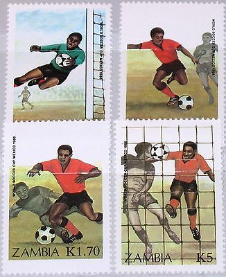 ZAMBIA SAMBIA 1986 360-63 350-53 Soccer World Cup Mexico Fußball WM Football MNH