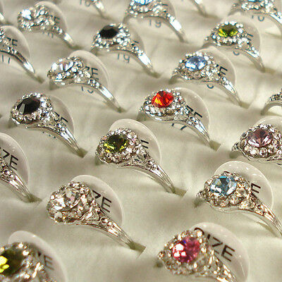 Wholesale Lots of 10PCS Silver Plated Rhinestone Crystal Rings 10A09