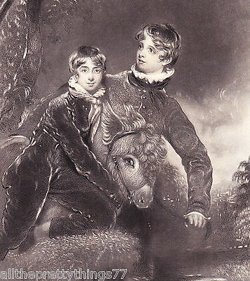 Antique 1849 Engraving Picture Print MATTED Boys w/ Friend PONY Horse Donkey