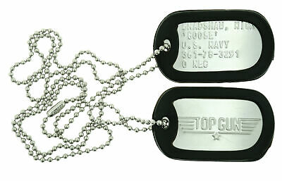 Top Gun GOOSE Military Stainless Steel Dog Tag Set Movie Prop Halloween Costume