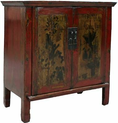 Red Antique Chinese Painted Cabinet-Painted Flora and Birds (26-057B)