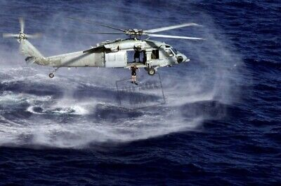 US Navy USN MH-60S Sea Hawk helicopter rescue swimmer jumps A2 8X12 PHOTOGRAPH