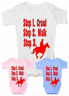 Steps To a Horse Rider Pony Funny Babygrow Vest Baby Clothing Gift