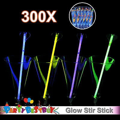 300x Multi Colour Glow Stir Stick Light Party Glowing in the Dark Glowsticks