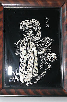 Antique Asian Chinese or Japanese Mother of Pearl Frame Black Picture Girl Marke