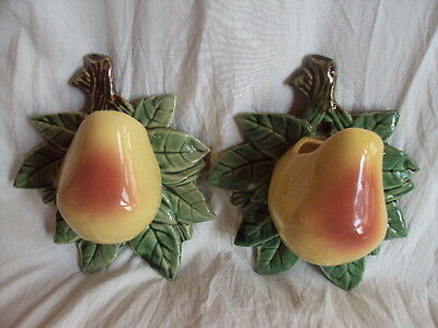 Pair of Vintage Original Mccoy Pear Wall Pockets/Planters