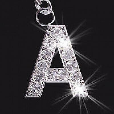CRYSTAL LETTER INITIAL A to Z MOBILE PHONE / BAG CHARM CHARMS
