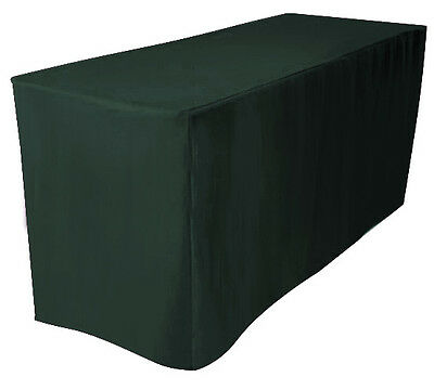 "4' Fitted Polyester Table Cover Wedding Banqut Tablecloth 24"" Width HUNTER GREEN"