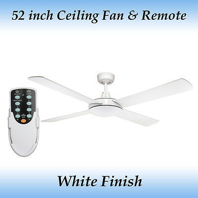 Fias Genesis 52 inch 4 Blade White Ceiling Fan and Remote