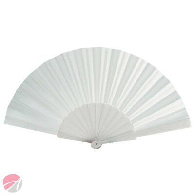 WHITE Plastic/Fabric Hand Fan **IDEAL FOR HOLIDAYS**