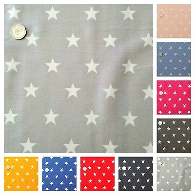 Star Fabric FAT QUARTER 20mm White Star 100% Cotton - Pink, Blue, Red and Black.