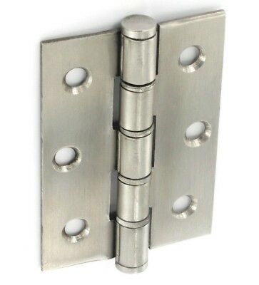 "1 Pair - STAINLESS STEEL WASHERED door Butt Hinge 3"" x 2"" Brushed B4294"