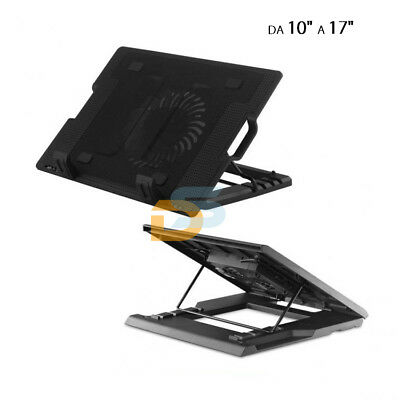 "Supporto Pc Portatile Notebook Da 10"" A 17"" Ventola Raffreddamento Desktop"