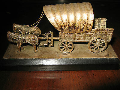 ONE OF A KIND FIND<>HORSE PULLED WAGON-HANDMADE SIGNED EBERKOC- aprox- 4 3/4 in-