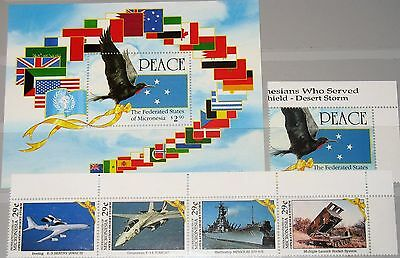 MICRONESIA MIKRONESIEN 1991 219-23 Block 9 138-42a Operation Desert Storm War NH