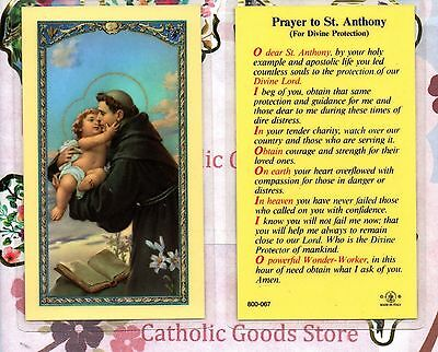 St Anthony with Prayer to St Anthony (Divine Protection) - Laminated Holy Card