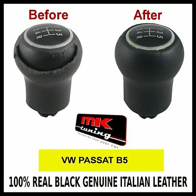 Vw Passat B5 Black Leather Gear Knob Cover Only