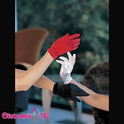 Ladies Satin Lycra Gloves Black White Red Color Size 6-12