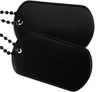 Black Military Army Blank Dog Tag Set w/ Black Ball Chains