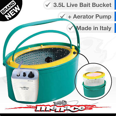 3in1 LIVE BAIT BUCKET & Free Aerator Pump - 3.5L - 120+ hrs run time - 2 speed