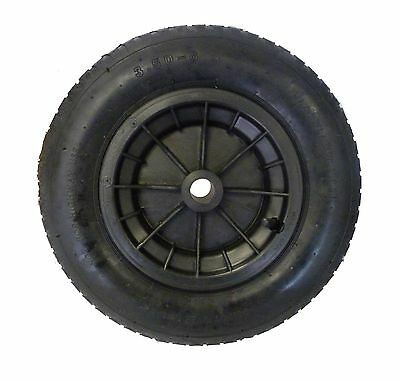 "BLACK wheelbarrow / Launching Trolley Wheel Pneumatic 14"" Tyre 3.50 - 8"