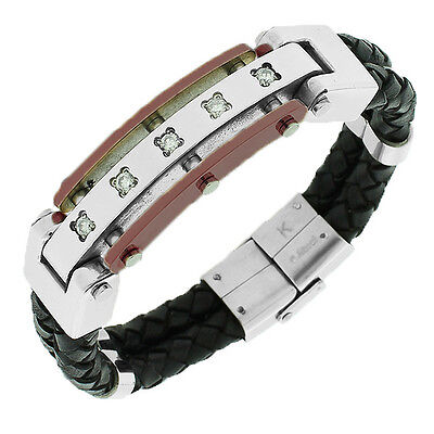 Stainless Steel Black Leather White Crystals Stones CZ Mens Bracelet with Clasp