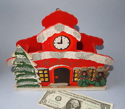 Vintage Made In Japan Folding Christmas Card Wood Mail Box