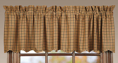 Millsboro Window Lined Valance Primitive Rustic Cabin Navy blue/Burgundy Red VHC