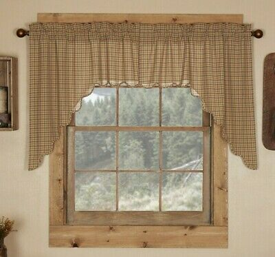 Millsboro Window Swag Primitive Rustic Cabin Tan/Navy blue/Burgundy Red Country
