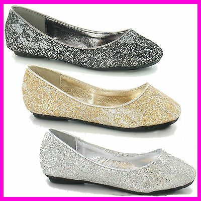 WHOLESALE Ladies and Girls Glitter Ballerina Pumps > Sizes 3-8 or 10-2 x14prs