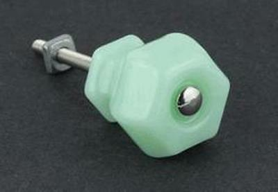 "Jadeite Green Milk Glass Hexagonal Knobs 1-1/4"" Diameter, K-48C"