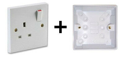 Single Wall 1 Gang Plug Electric Socket Switched Outlet + Pattress Box Back