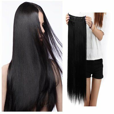 "100% human hair one-piece clip in hair extensions 1b# off black 16""-28"" long"