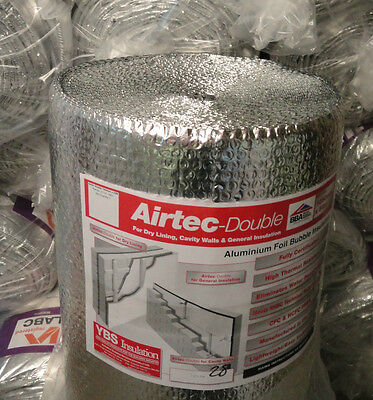 YBS Airtec Double Foil Reflective Bubble Insulation 75m2 Roll - FREE DELIVERY!