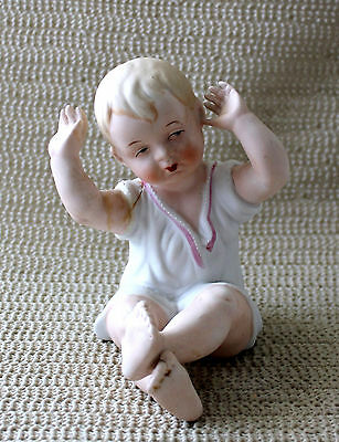Vintage German BISQUE PIANO Baby Doll Girl or Boy Figurine Figure Numbered