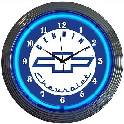 Chevy Blue Neon Clock Genuine Chevrolet Service Parts Chevy Muscle car garage