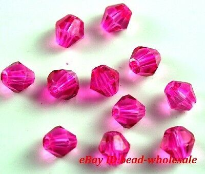 100pcs Loose Glass Crystal Bicone Spacer Beads 4mm Clear Rose