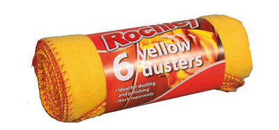 Rochley Yellow Dusters Pack of 6 Ideal for Dusting and Polishing All Surfaces