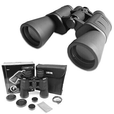 10 x 50 HIGH POWER PORRO PRISM BINOCULARS & CASE CAPS BAG STRAP NEW BIRDWATCHING