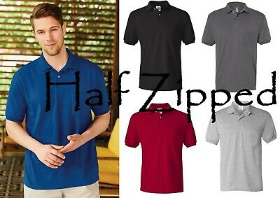 Hanes Mens Jersey Polo Sport Shirt with a Pocket 0504 S-4XL Cotton/Polyester