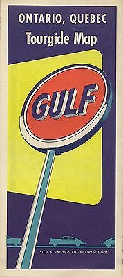 1956 GULF OIL COMPANY Road Map ONTARIO QUEBEC Montreal Canada Lake Superior