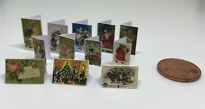 Dolls House Miniature- 12 Victorian Christmas Cards - Additional Items P&P FREE