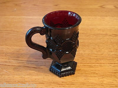 Avon 1876 Cape Cod cup ruby red drink glass pedestal garnet RARE mug goblet