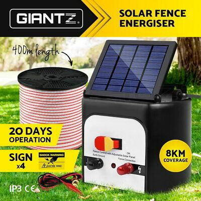 8km Solar Power Electric Fence Energiser Energizer Charger 0.3J Farm Pet Animal