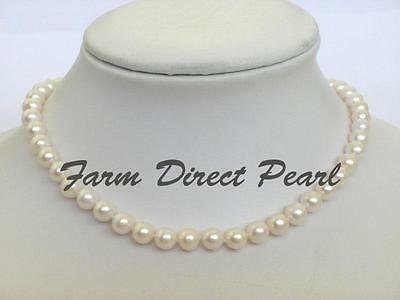 """Genuine 16"""" Inch Choker Cultured Freshwater 7-8mm White Pearl Strand Necklace"""