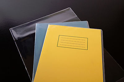 "10x clear plastic SCHOOL EXERCISE BOOK COVERS 9"" x 7"" - top quality"